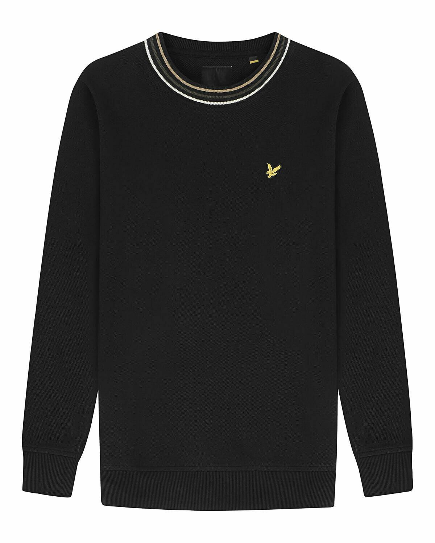 Lyle & scott   sweatshirt van piquékatoen met streepdetails