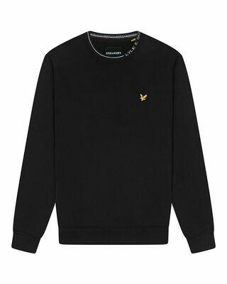 Lyle & scott | ringer sweatshirt met merk | zwart