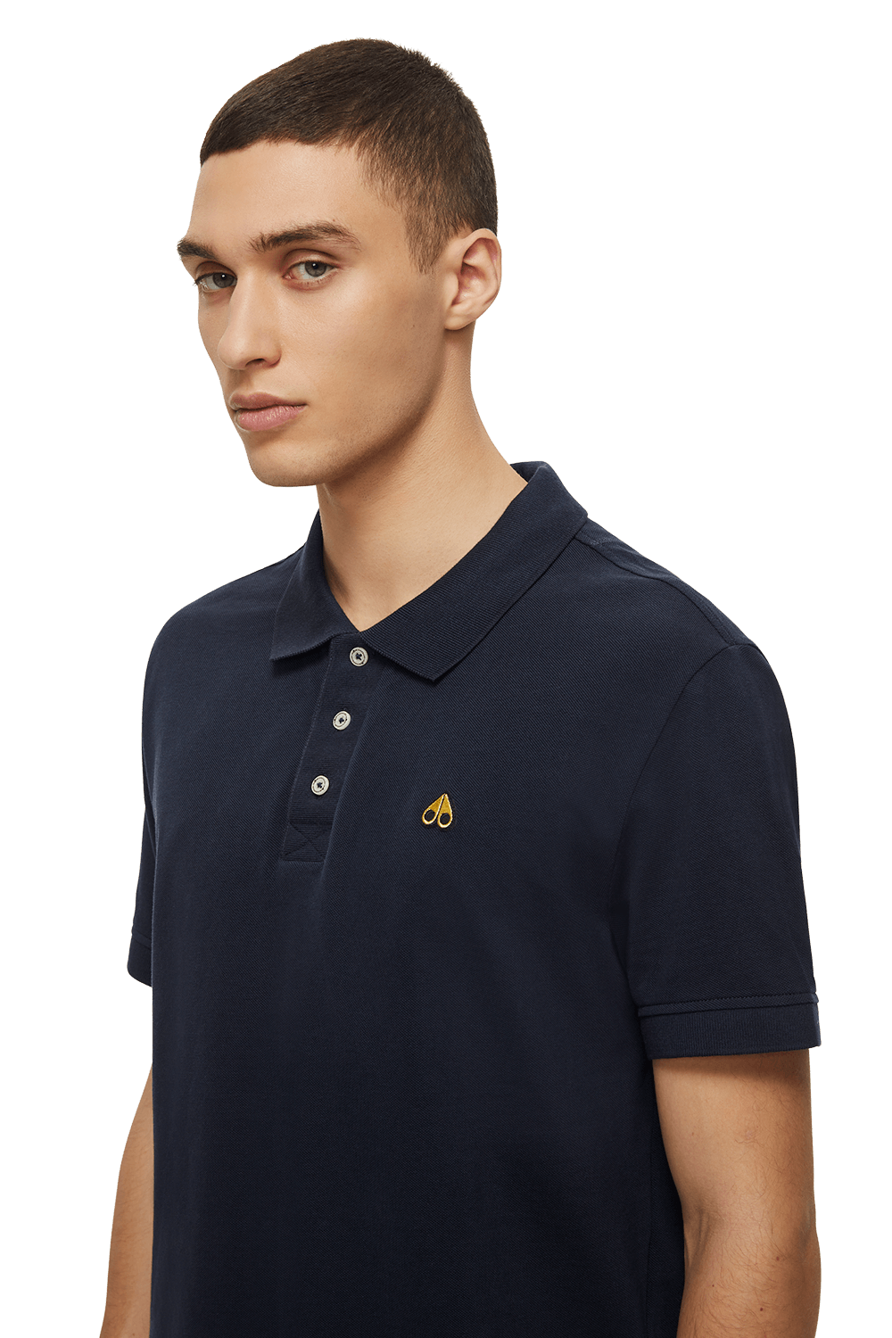 Moose Knuckles | Gold Polo Shirt | Navy