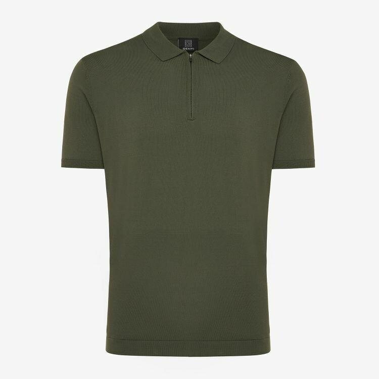 Genti   Polo Shirt Zip SS   Green