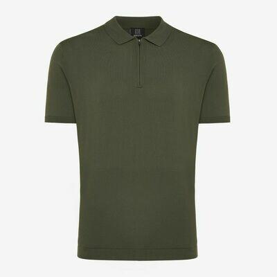 Genti | Polo Shirt Zip SS | Green