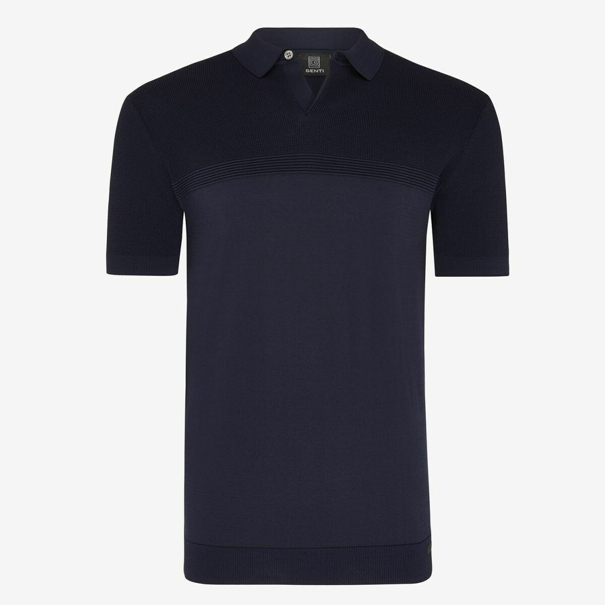 Genti | Polo SS Knit | Navy