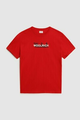 Woolrich | Shirt Macro Cotton Tee | Marine Scarlet