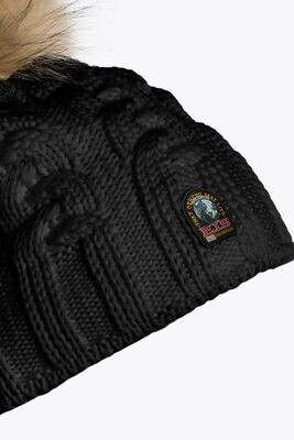 PARAJUMPERS   CABLE HAT   BLACK