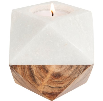 Candle Holder Marble/Wood