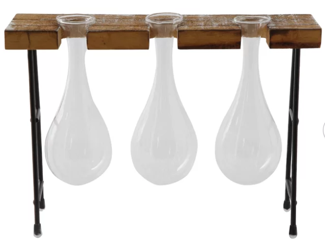 Glass Vases w/ Wood & Metal Stand