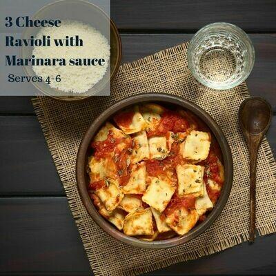 3 Cheese Ravioli with Marinara Sauce