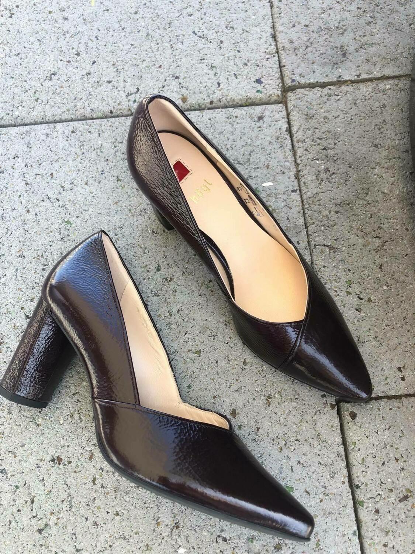 Burgundy patent heel