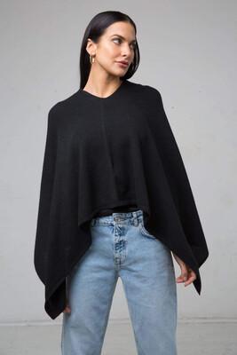 Mia Cashmere Poncho Black