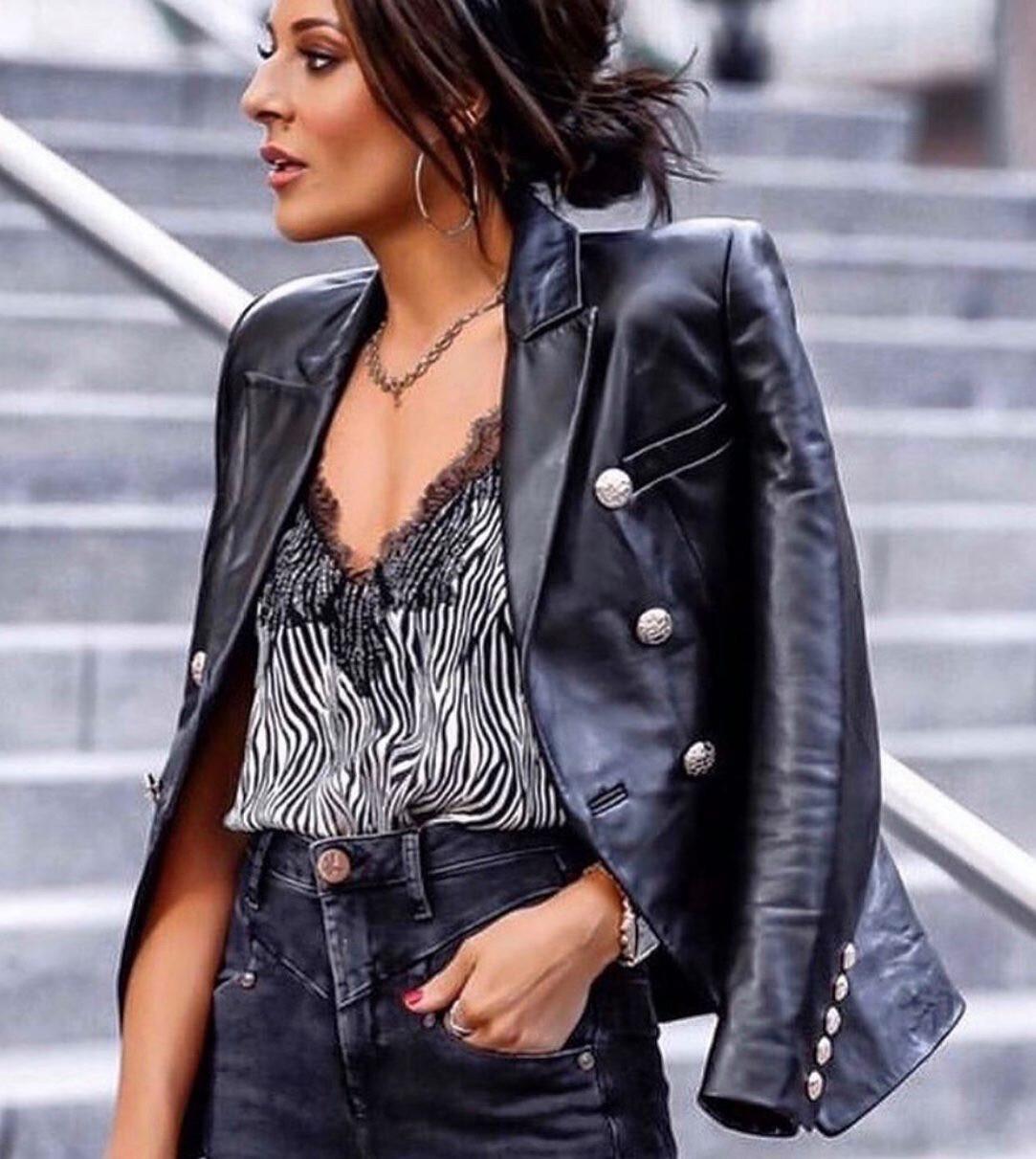 Bella Leather Blazer Black