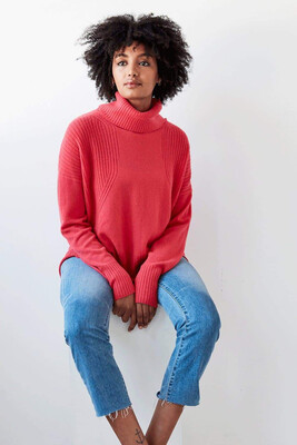 Mia Ribbed Roll Neck Coral