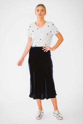Velvet Skirt - Navy