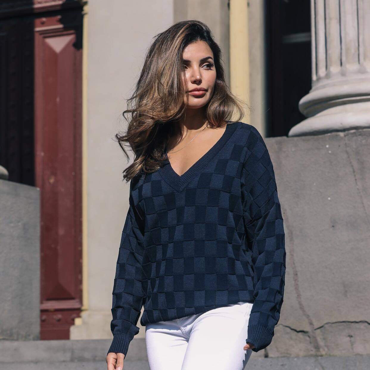 Alexandra V Neck Jumper - Navy