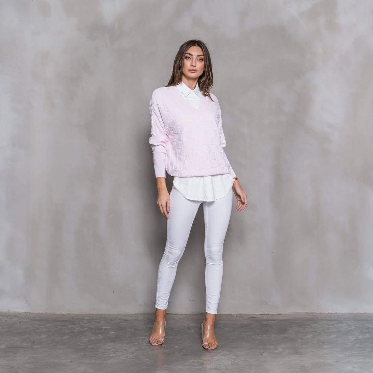 Alexandra V Neck Jumper - Baby Pink
