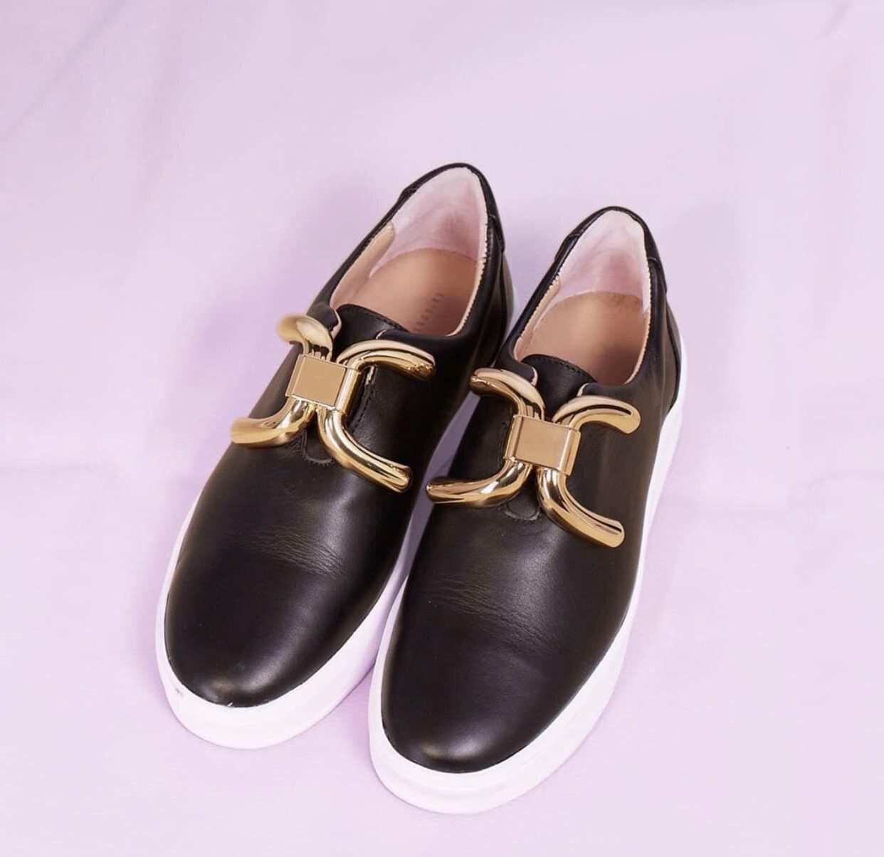 Luxe Buckle Sneaker - Black & Gold
