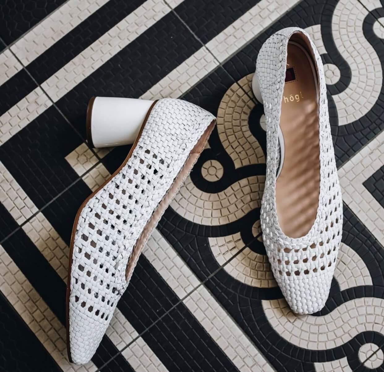 White Woven Heel