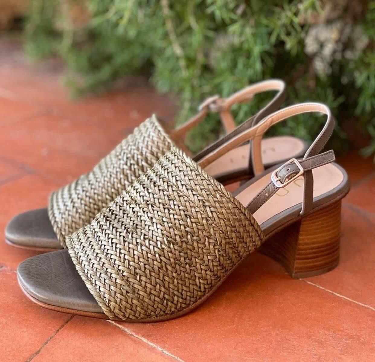 Woven Block Heel - Khaki