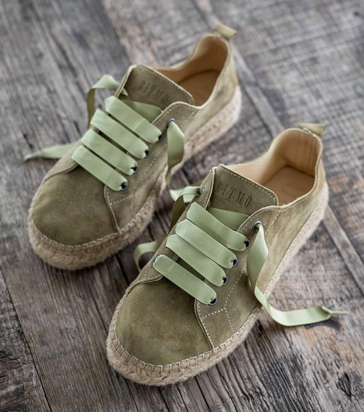 Green Suede Lace Up