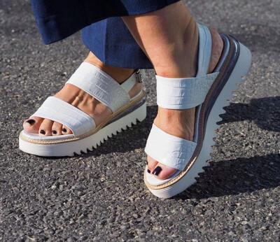 White Croc Print Platform Sandal