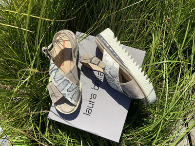 Snake And Suede Sandal