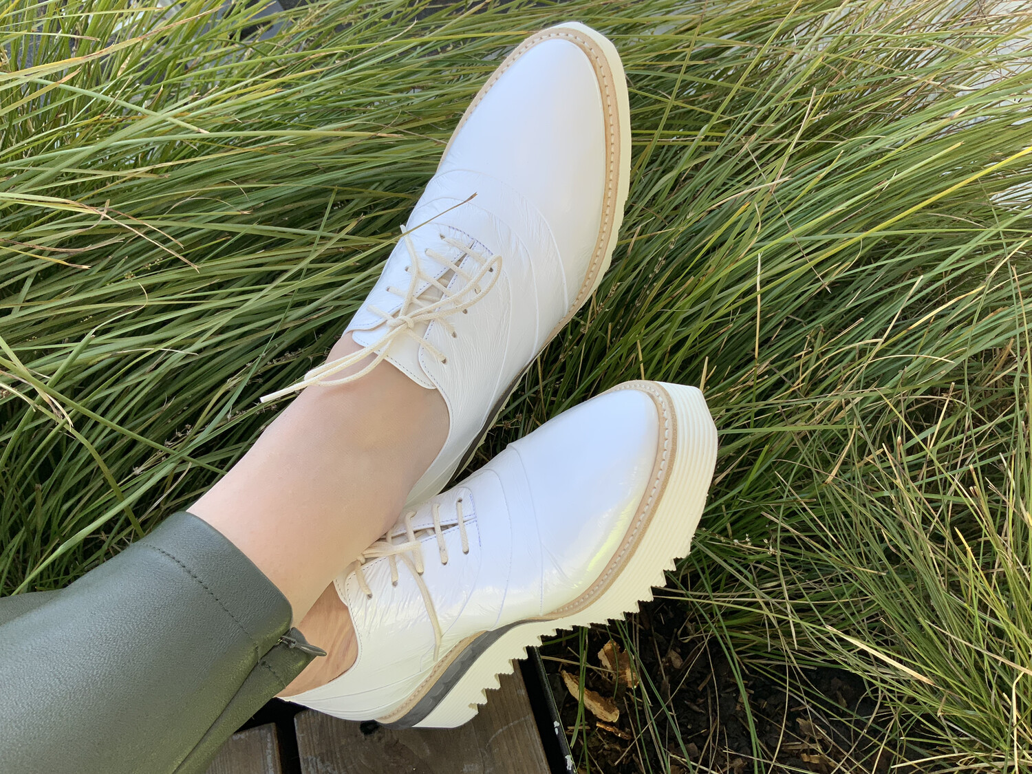 White Platform Brogue