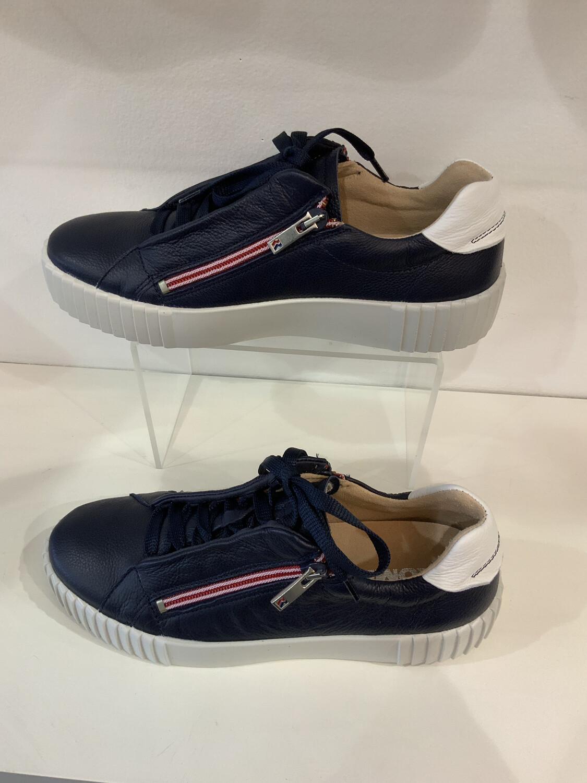 Double Zip Leather Sneaker - Navy