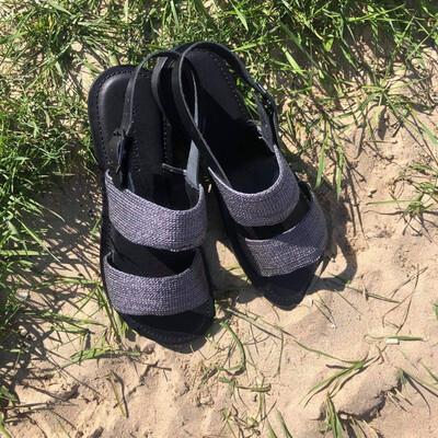 Raffia Woven Silver Sandal
