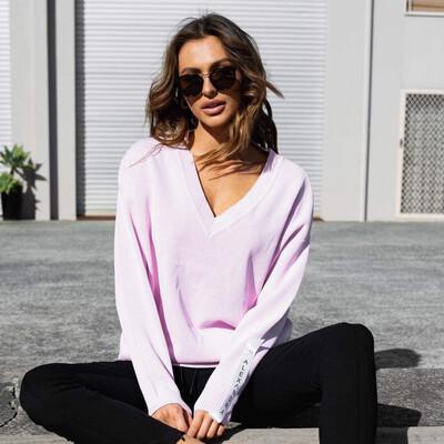 Alexandra V Neck Ponte Jumper - Pink