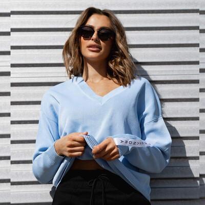 Alexandra V Neck Ponte Jumper - Blue