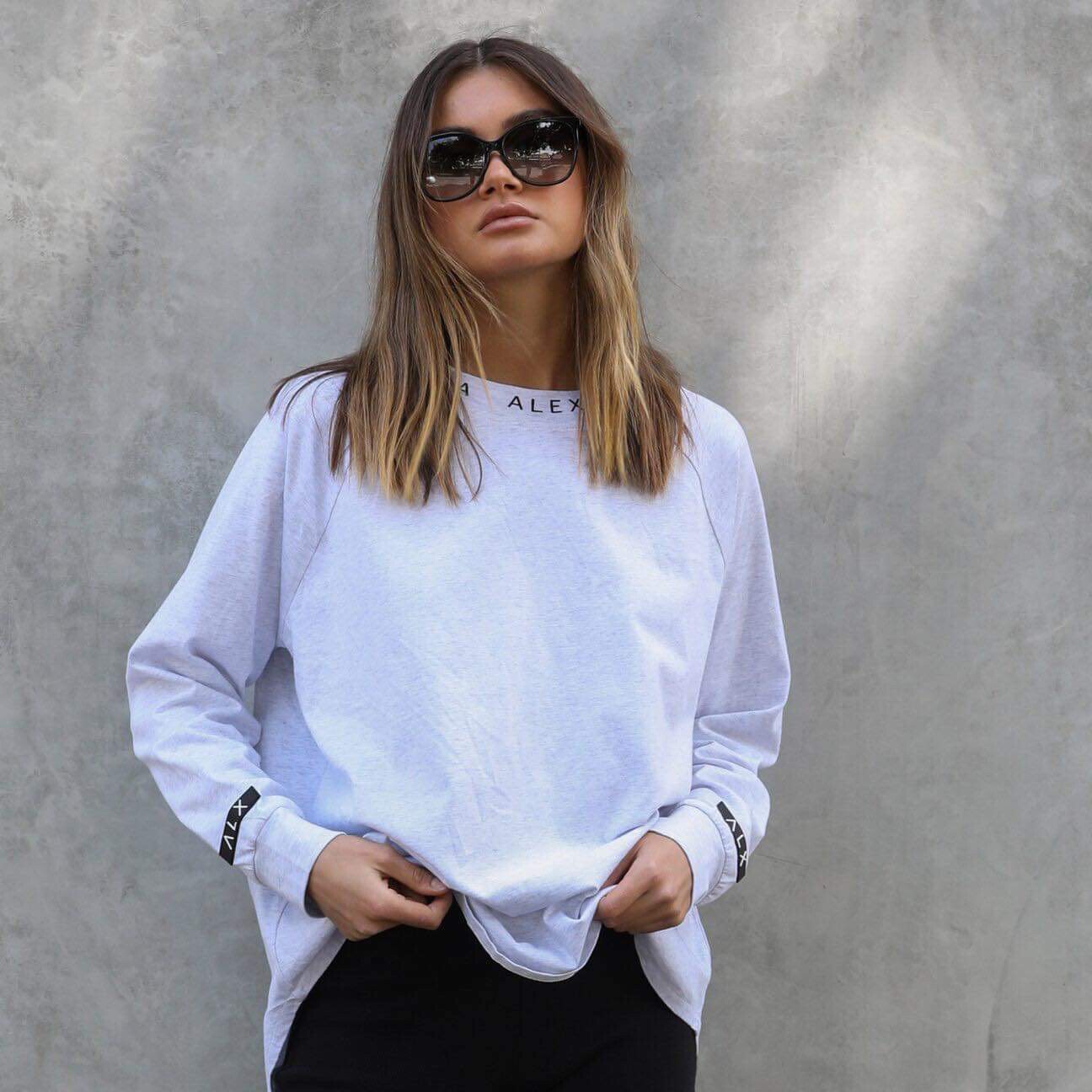 Alexandra Long Sleeve Tee - Light Grey