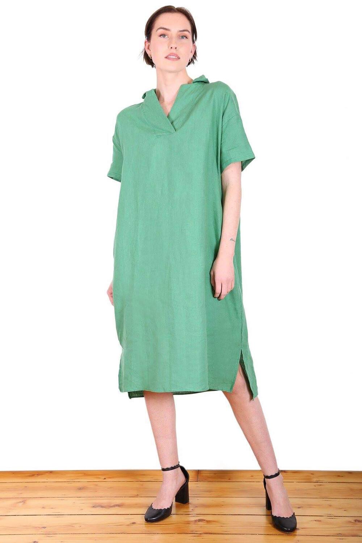 Linen V Neck Dress - Green