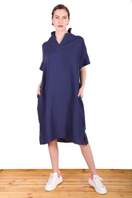 Linen V Neck Dress - Navy