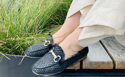 Woven Leather Loafer - Black