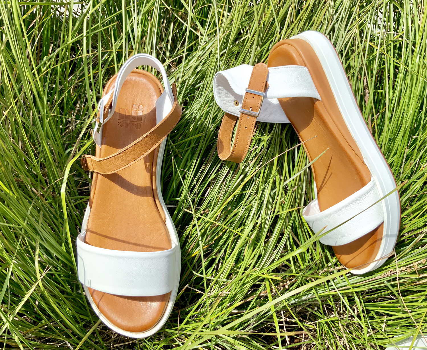 White And Tan Sandal