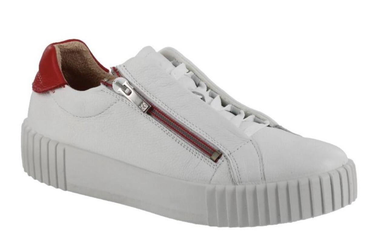 Double Zip Leather Sneaker - White