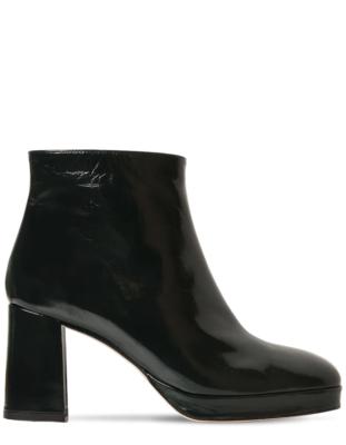 Miista London- Edith Patent Leather Boot Dark Green