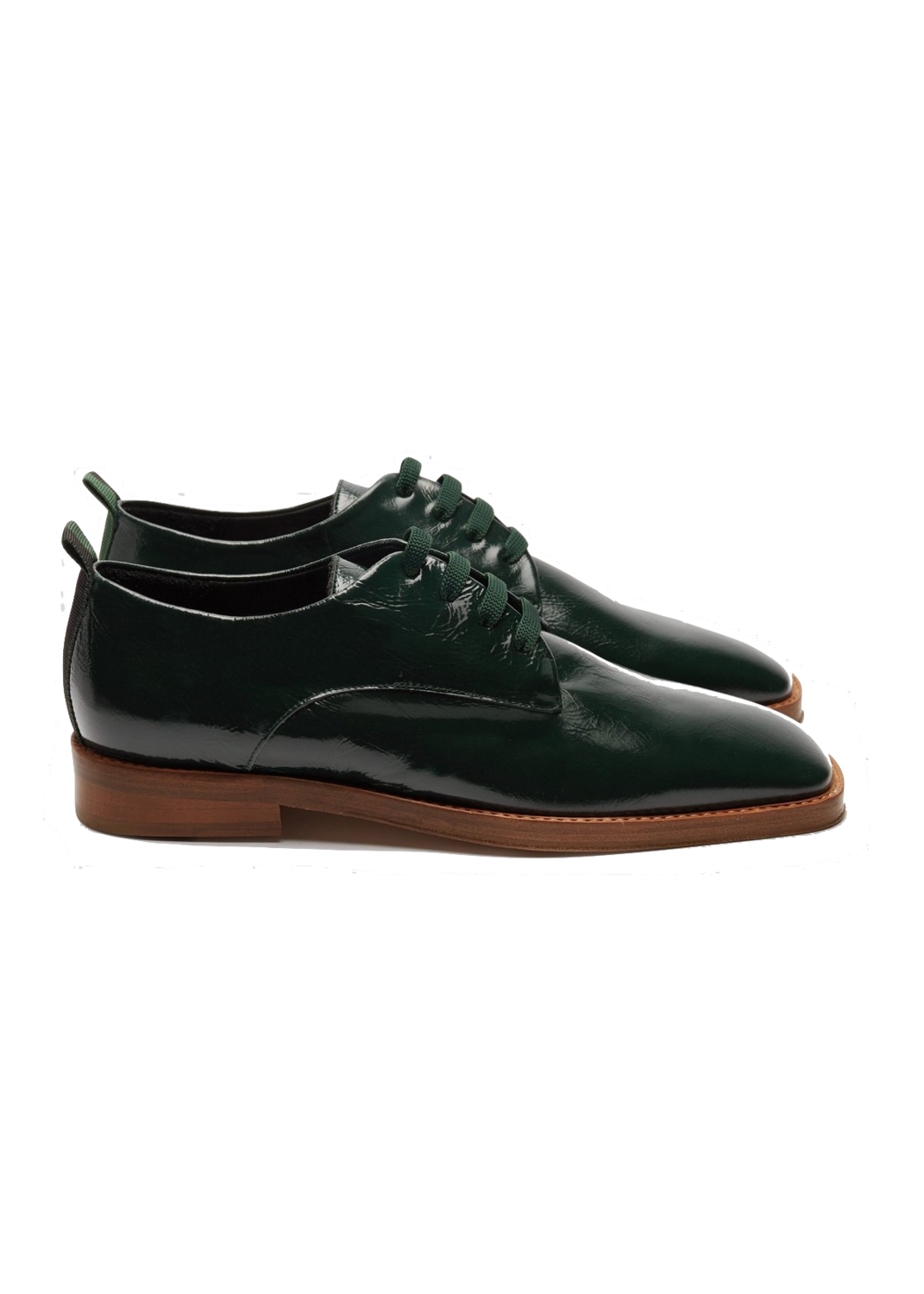 Missta London  Patent Green Oxford Lace Up