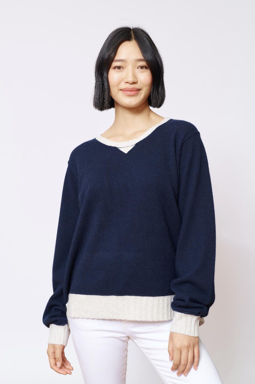 Alessandra Boyfriend Cashmere Sweater- Navy