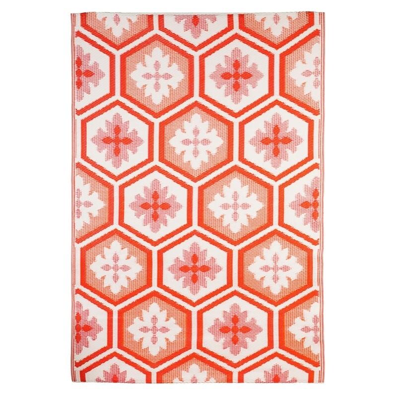 Coral Hexagon Reversible Weather Rug