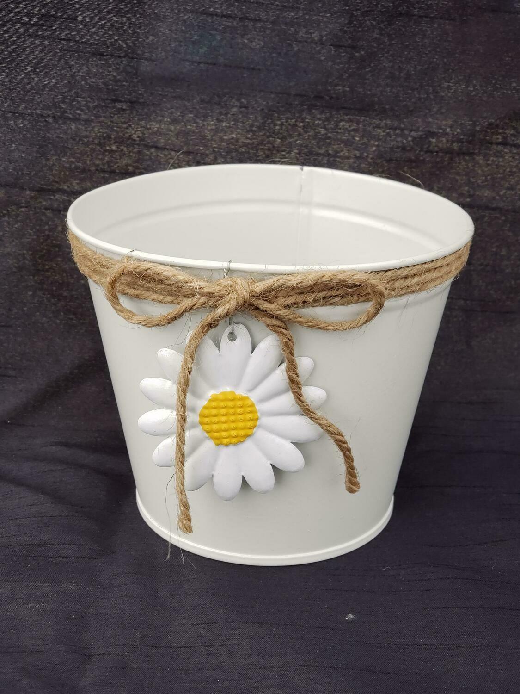 SM White Daisy Pot