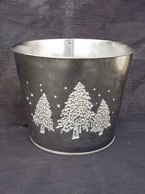 LG BLK Metal Tree Pot