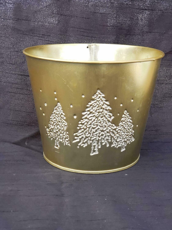 SM GLD Metal Tree Pot