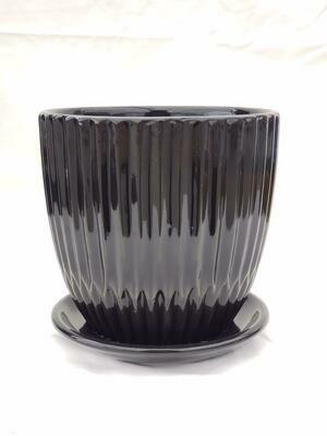 15cm BLK Ceramic Pot W/saucer