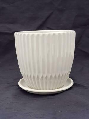 15cm WHT Ceramic Pot W/saucer