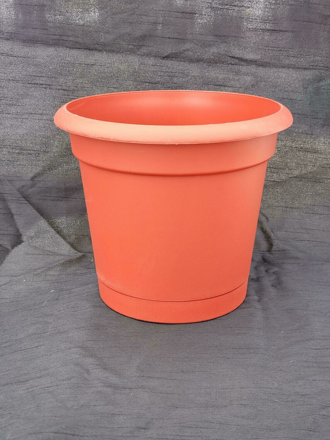 "RED 12"" Planter W/Saucer"