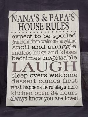 Nana's & Papa's Rules Wall Art