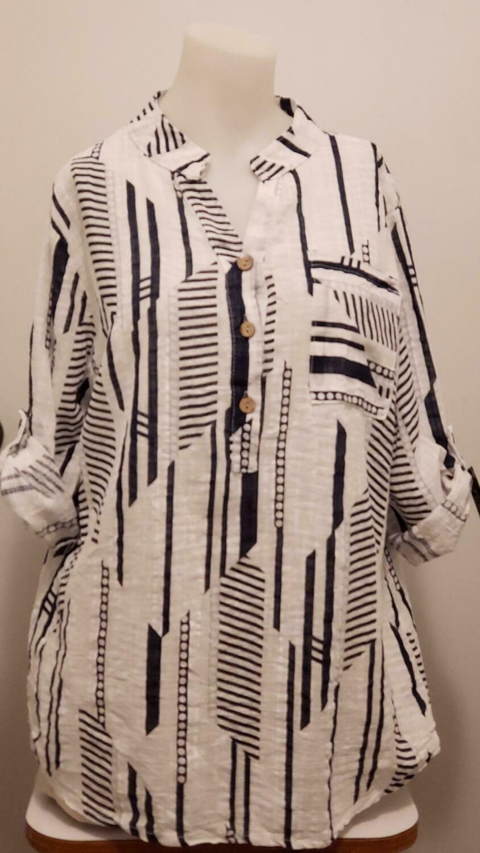 WHT/BLU 3/4 Sleeve Linen Shirt