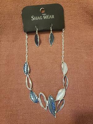 BLU/SVR Necklace W/Earring