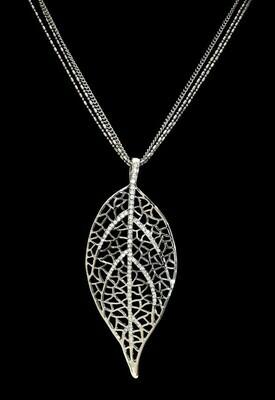 Leaf W/Crystal Necklace