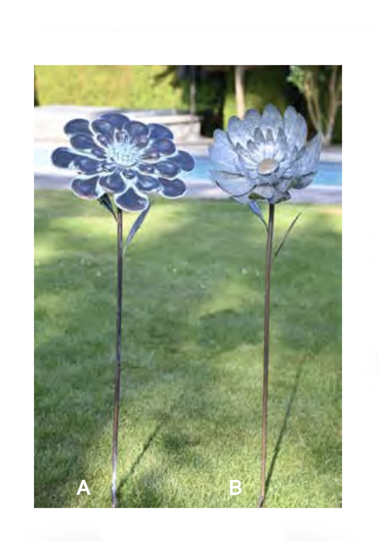 "Metal Flower Stake 49"" T"